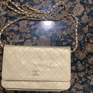 Gold Chanel Wallet on a Chain